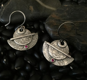 Blast Off to Saturn Fine Silver Earrings @ A Place to Bead | San Marino | California | United States