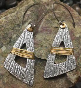 Golden Wrap Fine Silver Earrings @ A Place to Bead | San Marino | California | United States
