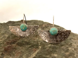 Metal Clay - Half Moon Rising Earrings @ A Place to Bead | San Marino | California | United States