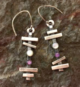 Metal Clay - Pick Up Sticks Earrings @ A Place to Bead | San Marino | California | United States