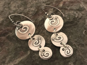 Metal Clay - Triple Spiral Dangle Earrings @ A Place to Bead | San Marino | California | United States