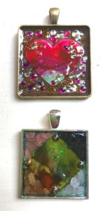 Mixed Media Bling Alcohol Ink Pendant